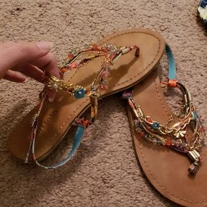 Zigisoho bright bejeweled strap sandals